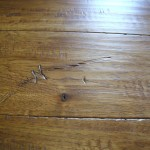Chestnut stained Hickory floor with optional barbwire impression